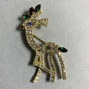 Vintage Gold Toned Reindeer Brooch Pin / Christmas